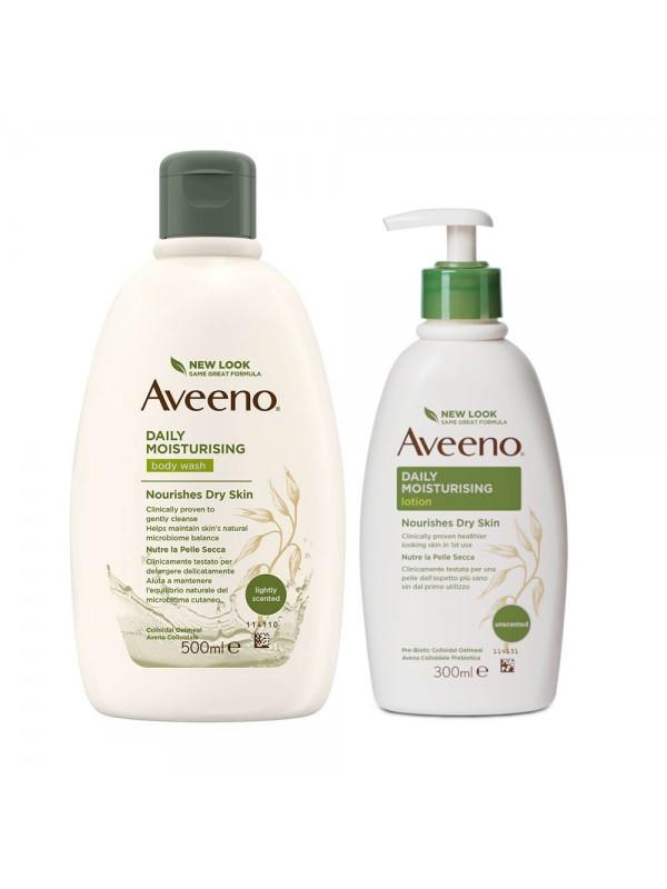 Aveeno Bundle Bagno Doccia 500 ml + Crema Idratante Corpo con Dispenser 300 ml