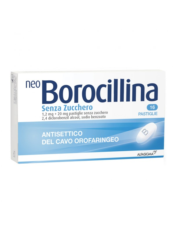 NeoBorocillina Antisettico Orofaringeo 16 Pastiglie senza zucchero 1,2 mg + 20 mg